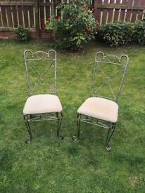 Two lovely iron ornate french style dining/ bedroom chairs by Bentley designs, £20