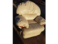Cream Leather 3 Seater Sofa & Reclining Arm Chair - Lazy Boy Recliner