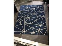 Navy and cream rug