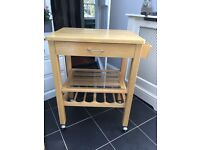 Wood pine kitchen island unit trolley table wine rack