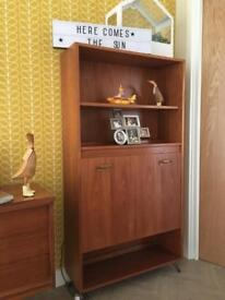 Gplan Vintage Teak Bookcase Shelf Unit Bureau with Hairpin legs
