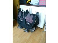 Baby Jogger City Mini Double Buggy - with Belly Bar, Rain Cover and cosy Footmuff
