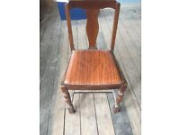Pair of Antique Dark Wood 50s Vintage Dining Chairs Retro Deco Kitchen Seats Seating
