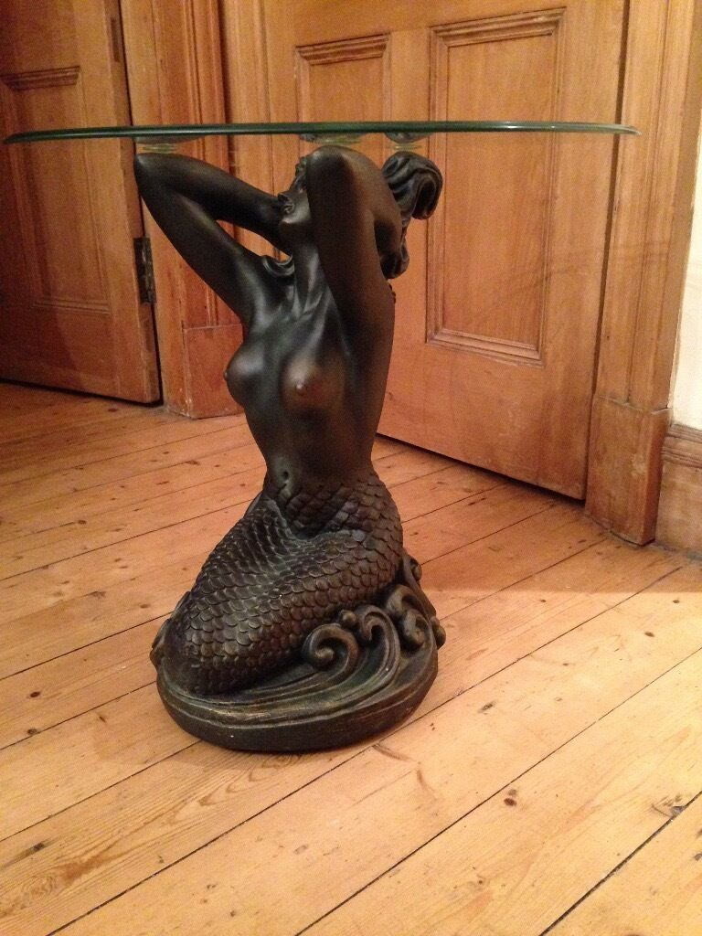 Glass Top Coffee Table Mermaid Sculpture