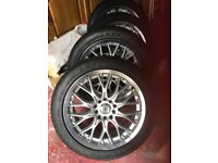 Set of 4: BK Racing 17 inch Alloys with tyres