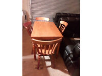 LOVELY SOLID WOOD COMPACT DINING TABLE AND CHAIRS 42 INCHES LONG X 26.5 WIDE VIEWING WELCOME