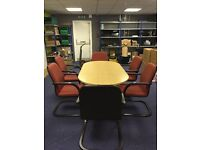 Office meeting table and chairs - wood effect