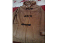 ladies size 12 faux suede duffle coat, completely lined with faux fur including sleeves and hood