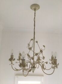 John Lewis ceiling light in cream metal with 6 bulb fittings