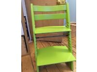 Stokke Tripp Trapp lime green kids wooden adjustable high chair