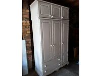 White painted triple pine wardrobe