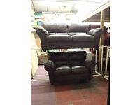 brown leather 3 seater sofa and 2 chairs suite