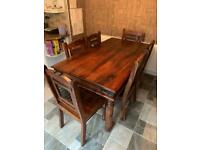 Real oak large dining table with 6 chairs