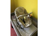 Mothercare Basinette Travel Cot with baby and toddler dual height +hauck baby bouncer