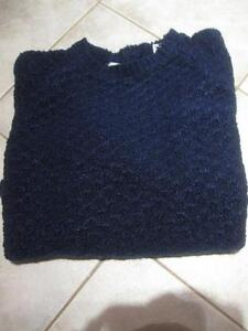 FANCY KNIT LADY'S / YOUTH CREW-NECKED SWEATER in MIDNIGHT BLUE [MEDIUM SIZE ]
