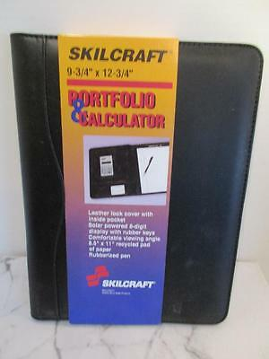 Skilcraft Portfolio Black Leather Look Wcalculator And Pen 9-34 X 12-34