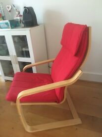 IKEA POANG armchair with red cover