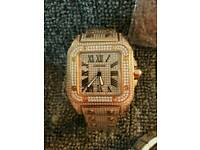 Cartier Santos Iced out Diamond Watch