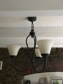Ceiling light fitting with 3 lights. Metal with verdigris effect.