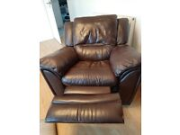 Recliner brown leather arm chair