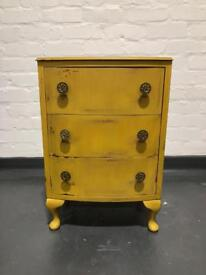 Up-Cycled Mustard Bedside Table/Small Chest of Drawers