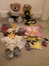 Build a Bear 2 Bears and Outfits