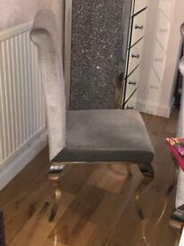 dining room chair silver grey ornate