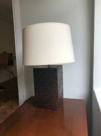 Two solid wood table lamps and shades