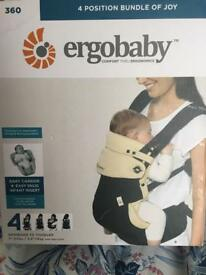 Ergobaby Four Position 360 Carrier and Infant Insert - Black/Camel