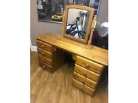 Solid pine dressing table with mirror