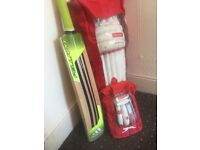 Slazenger cricket pads, gloves, helmet and addidas cricket bat