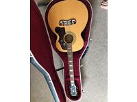 (OPEN TO OFFERS) Epiphone EJ200 acoustic guitar & Hiscox hard travel case