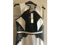 Lipsy White & Black Lace Insert Dress BNWT Size 10.