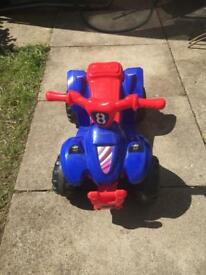 EVO 6V Battery Electric Operated Blue Red Ride On Quad - Age 3+Yrs