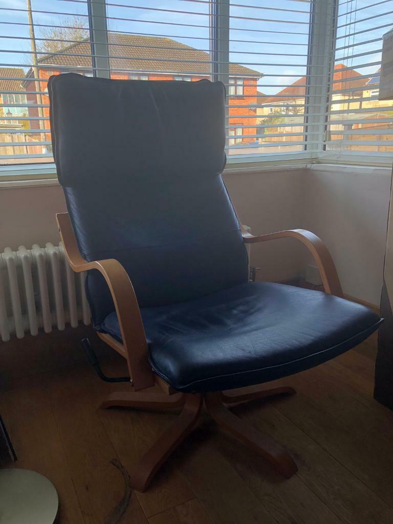 Brilliant Ikea Navy Blue Leather Chair And Footstool In Southampton Hampshire Gumtree Machost Co Dining Chair Design Ideas Machostcouk