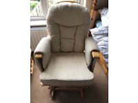 Cream bambino supremo nursing chair and gliding footstool