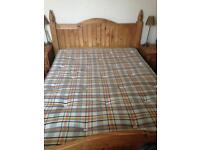 Mexican solid heavy pine double bed frame