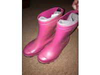 Girls pink Wellington boots size 1-1.5
