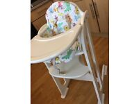 East Coast Multi Height Highchair In White with seat cover