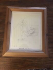 Winnie the Pooh sketch picture in frame excellent condition