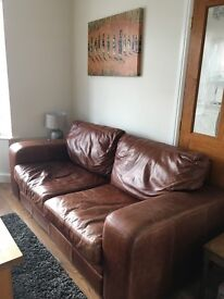 Tan/brown distressed vintage look sofa and chair