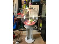 Large 60l bi orb fish tank v g c and full set up with stand light pump heater lid gravel nice orname