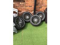 1av alloy wheels 225/40/18 5 stud new wheels and new tyres bmw vw audi