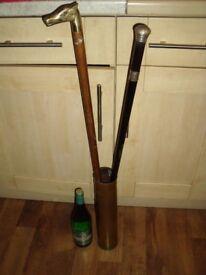 Unusual Brass Umbrella Stand/Artillery Shell H 38.5 cm