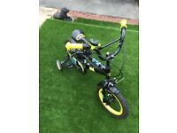 "childs batman bike 14"" with stabilisers good condition"