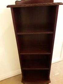 Mahogany wood slim bookcase