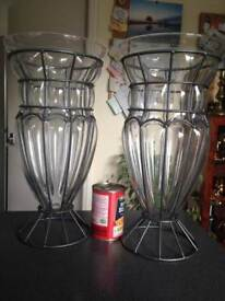 Pair Amalfi (cage-blown) Glass Vases by Tarnow of Poland.