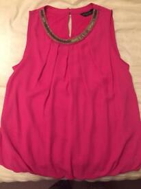 Fuschia Vest style top with gold and silver detailed neckline