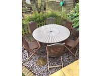 Wooden Lazy Susan and 6 x chairs