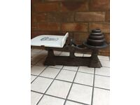 Vintage Old Grocers Scales with Weights